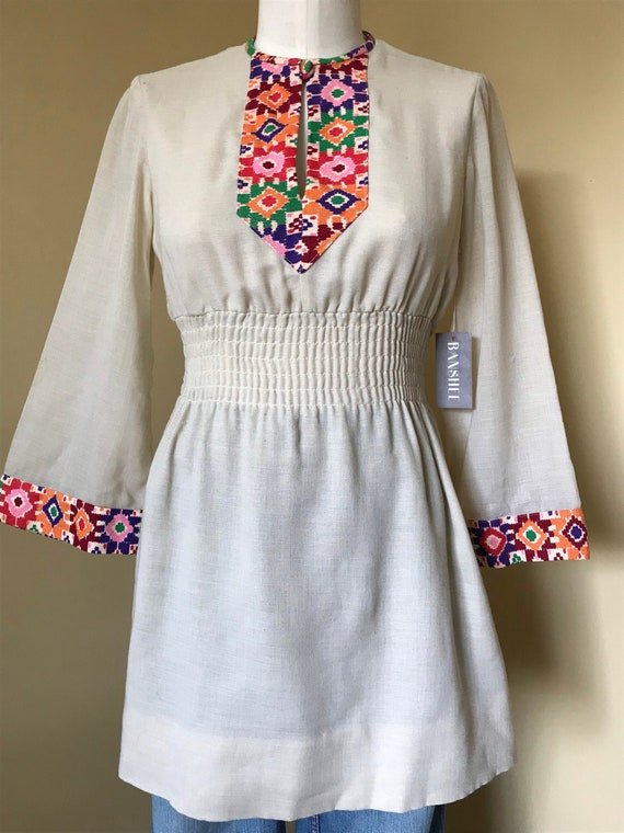 1960s  Boho Rainbow Fit n Flair Tunic with Psyched