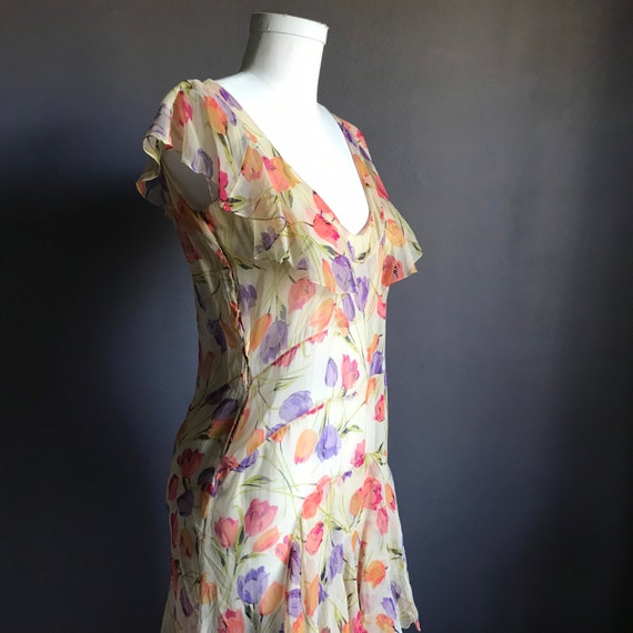 Lovely 1920s Silk Chiffon Tulip Print Dress
