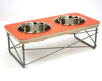 Modern Pet Feeder - Dog Bowl or Cat Bowl Elevated Feeder Mid Century Modern Design Eames Inspired in Orange Color