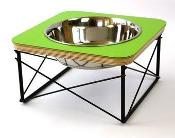 Single Bowl Modern Pet Feeder - Dog Bowl or Cat Bowl Elevated Feeder Mid Century Modern Design Eames Inspired Pet Dish