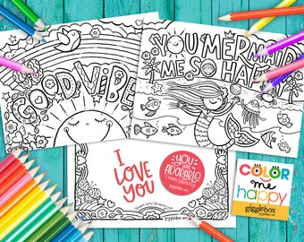 Color Me Happy, Coloring Activity Note Cards, Set of 8, Correspondence Cards, Blank on the Back, Inspirational, Any Occasion, Kids, Children