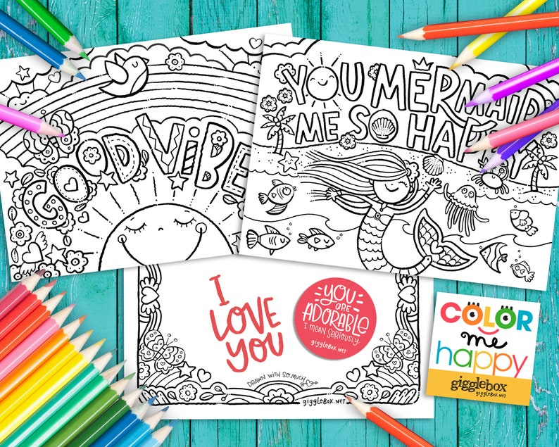 Color Me Happy Coloring Activity Note Cards Set of 8 image 1