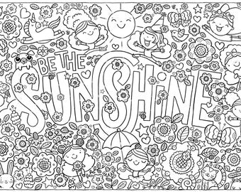 Be The Sunshine Coloring Activity Poster Children Kids Adults Coloring Poster Wall Art Decor