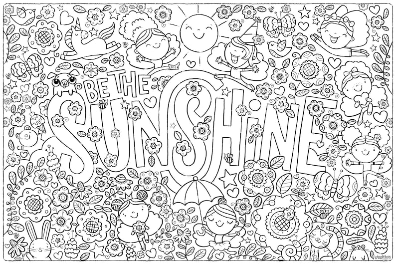 Be The Sunshine Coloring Activity Poster Children Kids Adults image 1