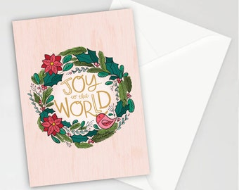 Joy to the World Wreath Christmas Holiday Greeting Cards, Set of 8, Correspondence, Cards, Blank Inside, Inspirational Note Cards