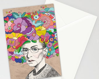 Notorious RBG, Ruth Bader Ginsburg, Greeting Cards, Set of 8, Correspondence, Cards, Blank Inside, Inspirational Note Cards