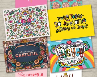 Greeting Cards, Set of 8 Unique Correspondence Cards, Blank Inside, Inspirational Note Cards, Original Designs, Mixed Designs