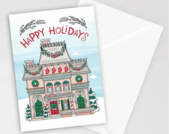 Home for the Holidays Christmas Holiday Greeting Cards, Set of 8, Correspondence, Cards, Blank Inside, Inspirational Note Cards