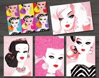 Barbie Greeting Cards, Set of 5, Correspondence, Cards, Blank Inside, Inspirational Note Cards, Barbie Theme, Mixed Designs
