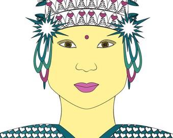 Thai Lady - Art Card - Blank inside