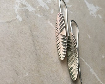Carved Earrings, Bronze Anniversary Gift, Metalsmith Jewelry