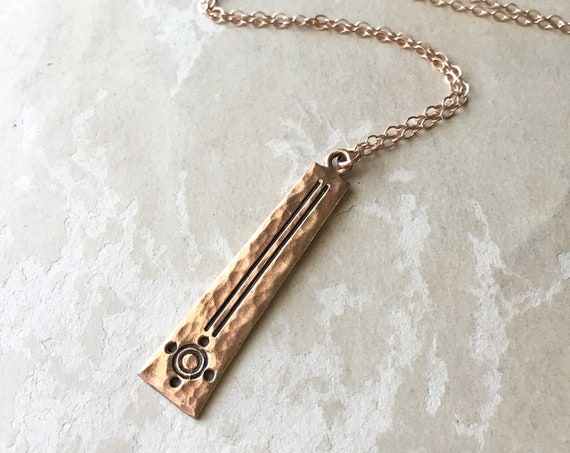 Hammered Copper Pendant, Copper Necklace, Rose Gold Jewelry