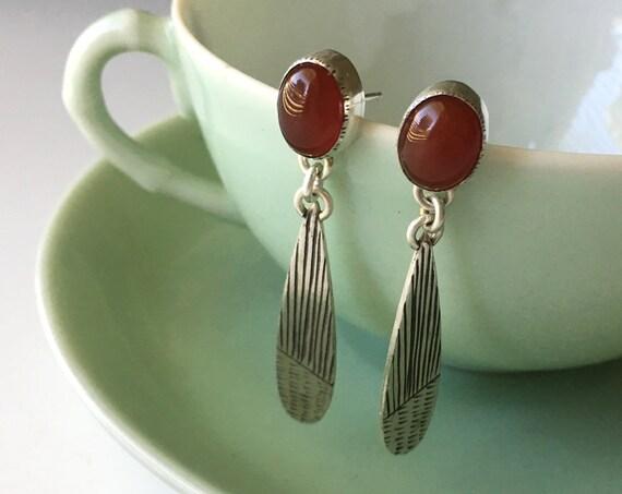 Carnelian Earrings, Post Dangle Earring, Red Stone Jewelry