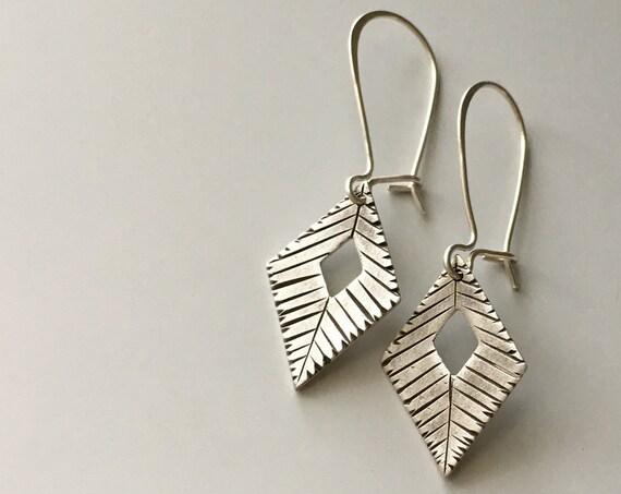 Diamond Shaped Earrings, Hand Carved Silver, Silver Dangle Earrings