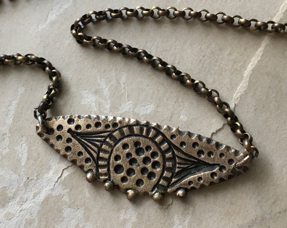 Bronze Necklace, Carved Jewelry, Rustic Pendant, Wing Necklace