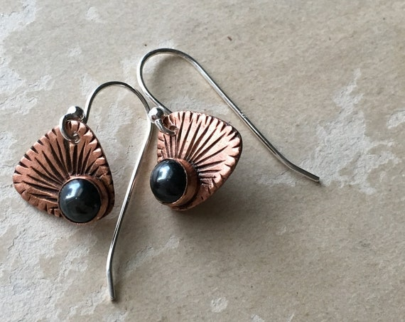 Hematite Earrings, Copper Earrings, Carved Jewelry, Sunburst Designs