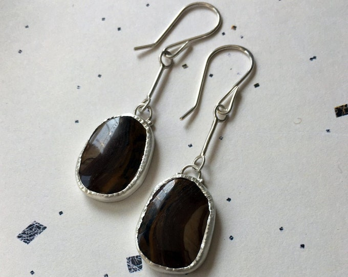 Brown Stone Earrings, Royal Sahara Jasper Jewelry, Long Silver Dangles