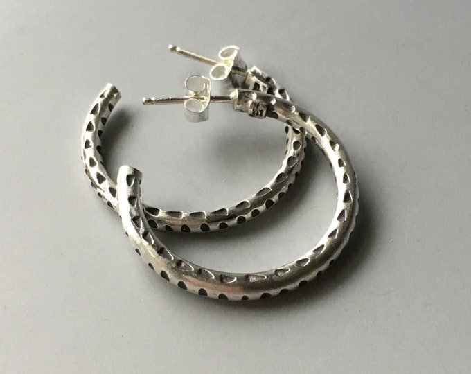 Silver Hoop Earrings Medium, Post, Silversmith Jewelry