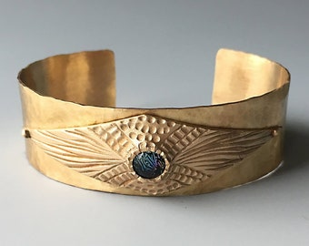 Brass Cuff Bracelet, Bronze Cuff, Dichroic Glass Jewelry