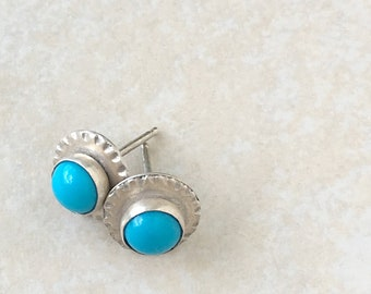 Sleeping beauty turquoise and silver small stud earrings, December birthstone jewelry