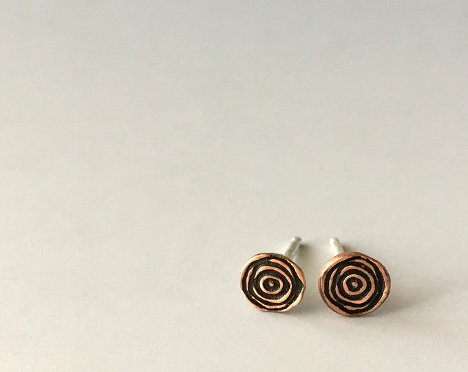 Copper Earrings Studs, Minimalist Jewelry, Spiral, Tiny Stud