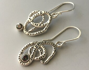Alexandrite Jewelry, Carved Silver,  Scribble Art, Mismatched Earrings
