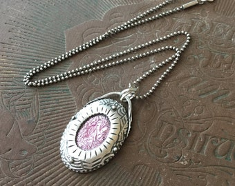 Pink Necklace, Breast Cancer Jewelry, Dichroic Glass Pendant, Artisan Jewelry