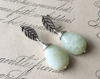 Aquamarine Earrings, Leaf Earrings, Stone Dangle, Silver Wire Wrap Earrings