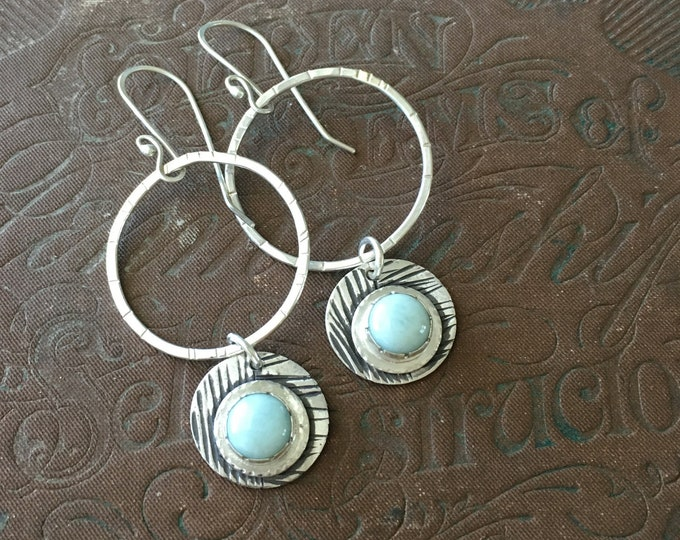Larimar Earrings, Hoop Earrings with Charm, Hammered Hoop Earrings
