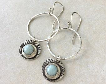 Hammered hoop earrings with larimar charm