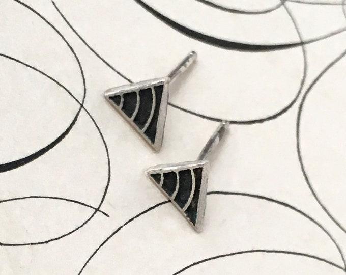Tiny Silver Studs, Black Triangle Earrings, Small Geometric Jewelry