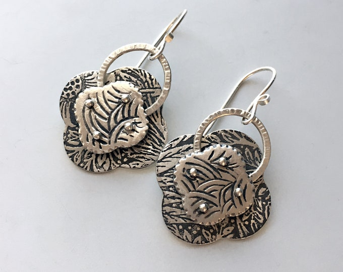 Quatrefoil Earrings, Rivet Jewelry, Silver Artisan