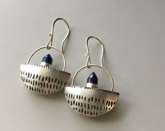 Lapis Earrings, Unique Gemstone Earrings, Silver and Blue