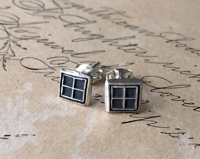 Tiny Stud Earrings, Square, Little Geometric