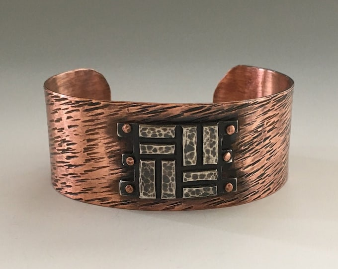 Geometric Cuff Bracelet, Statement, Mixed Metals, Rivet
