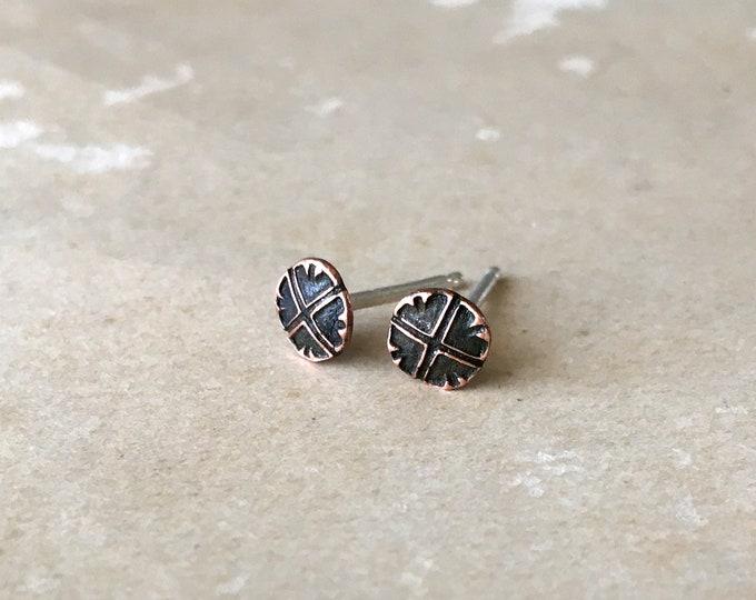 Small Stud Earrings, Minimalist, Post, Copper Jewelry