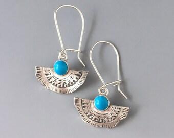 Artisan Turquoise Earrings, December Birthstone, Genuine