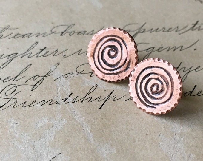 Spiral Copper Earrings, Carved, Wabi Sabi Jewelry, Small Studs