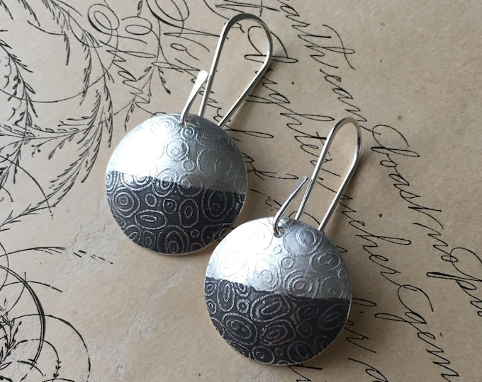 Half Moon Earrings, Patina Jewelry, Textured Silver, Celestial