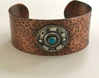 Birthstone Gift for Him, Copper Turquoise Cuff, Sleeping Beauty Turquoise, Arts and Crafts Style