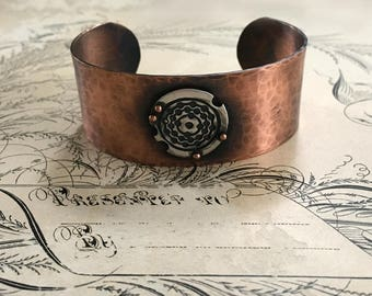 Hammered Cuff Bracelet, Copper Jewelry, Silver and Copper, Mixed Metal Bracelet
