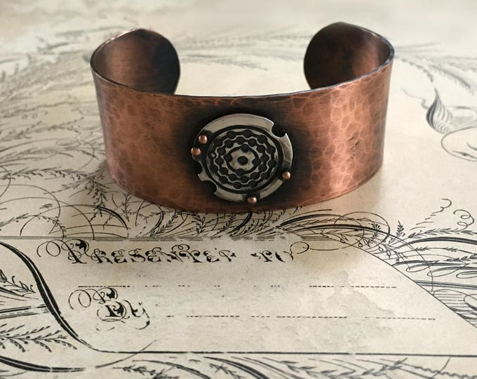 Hammered Cuff Bracelet, Copper Jewelry, Silver and Copper, Mixed Metal