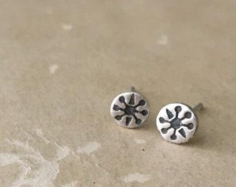 Little Earrings, Small Silver Studs, Retro Jewelry, Sterling Silver