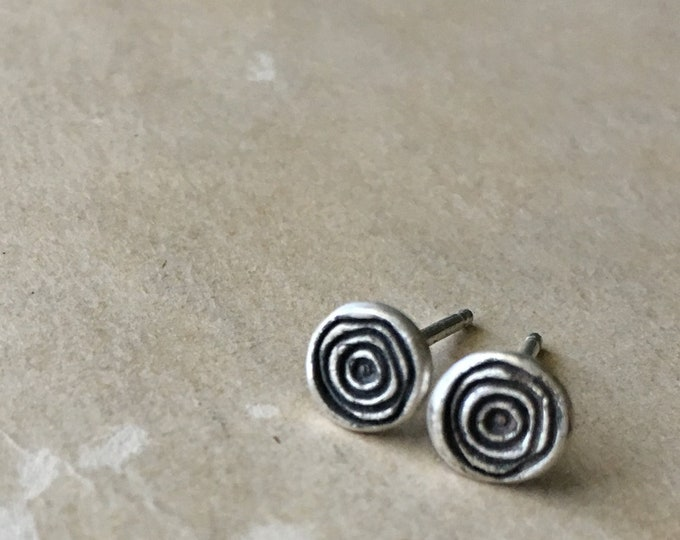 Sterling Silver Spiral Earrings, Tiny Studs, Small Post Earrings