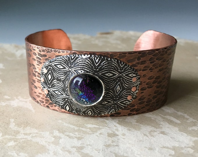 Dichroic Glass Jewelry, Riveted Metal, Hammered Copper Cuff