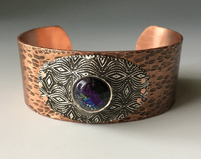 Dichroic Glass Jewelry, Mixed Metal Bracelet, Rivet, Hammered Copper Cuff