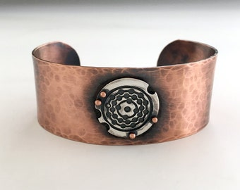 Hammered Cuff Bracelet, MIxed Metal Jewelry, Riveted, Pure Copper, Artisan Silver