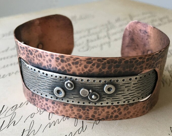 Copper Cuff Bracelet, Silver and Copper Cuff, Hammered Copper Jewelry, Wabi Sabi