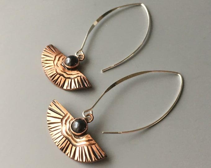 Copper and Stone Earrings, Hematite, Fan Shape