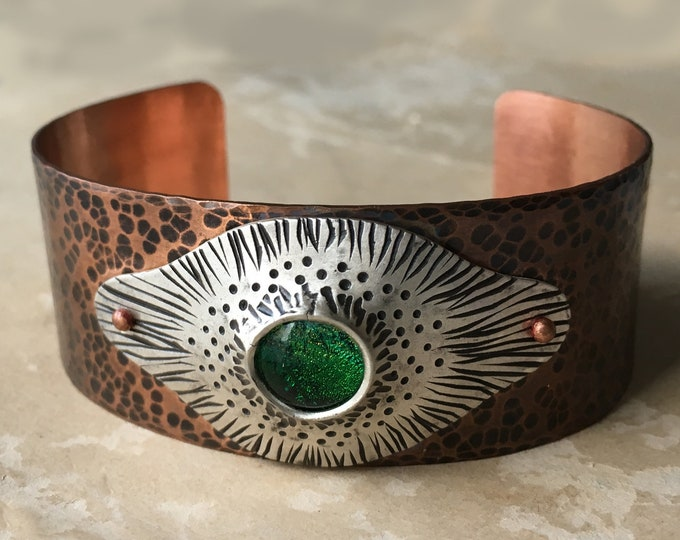 Hammered Copper Cuff Bracelet, Mixed Metal, Dichroic Glass Jewelry, Riveted